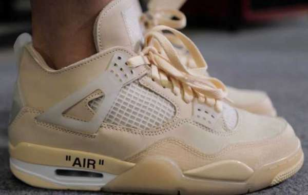 New Off-White x Air Jordan 4 Sail/Muslin-White-Black Shoes For Sale